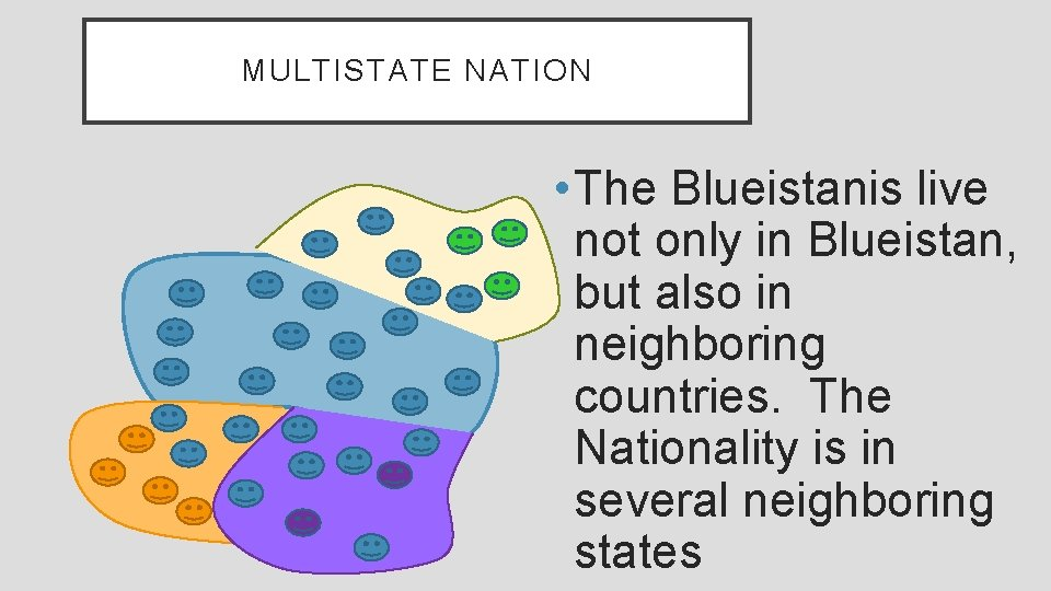 MULTISTATE NATION • The Blueistanis live not only in Blueistan, but also in neighboring