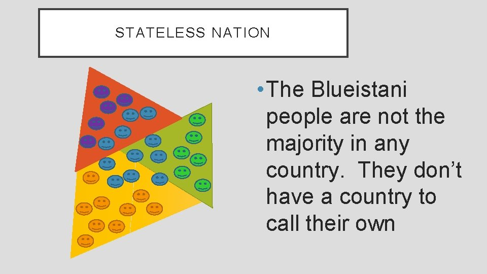 STATELESS NATION • The Blueistani people are not the majority in any country. They