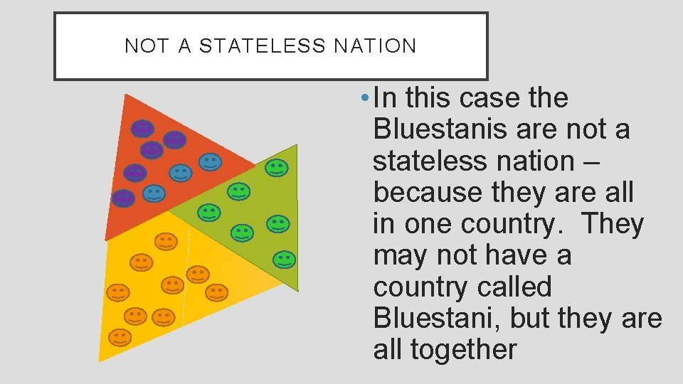 NOT A STATELESS NATION • In this case the Bluestanis are not a stateless