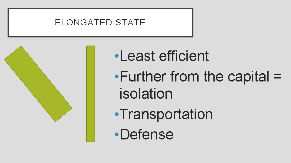 ELONGATED STATE • Least efficient • Further from the capital = isolation • Transportation