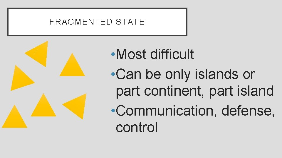 FRAGMENTED STATE • Most difficult • Can be only islands or part continent, part