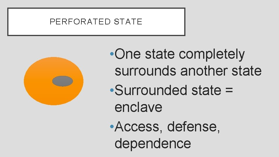 PERFORATED STATE • One state completely surrounds another state • Surrounded state = enclave