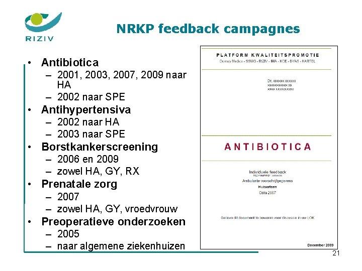NRKP feedback campagnes • Antibiotica – 2001, 2003, 2007, 2009 naar HA – 2002