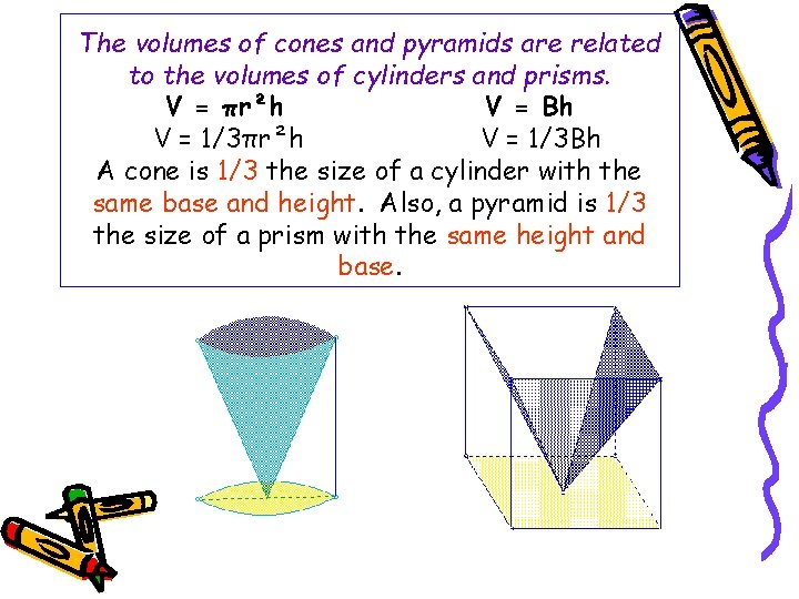 The volumes of cones and pyramids are related to the volumes of cylinders and