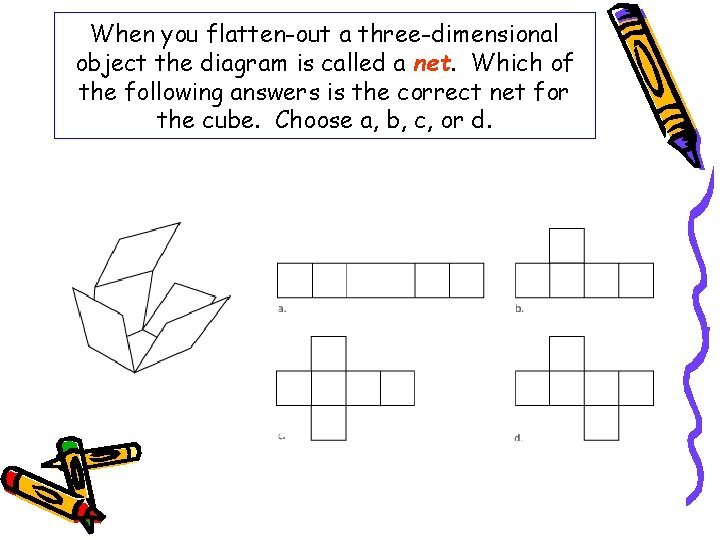 When you flatten-out a three-dimensional object the diagram is called a net. Which of