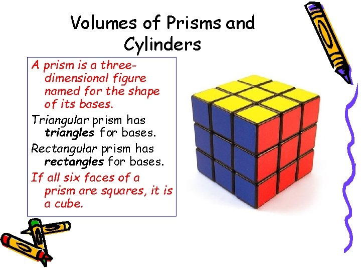 Volumes of Prisms and Cylinders A prism is a threedimensional figure named for the