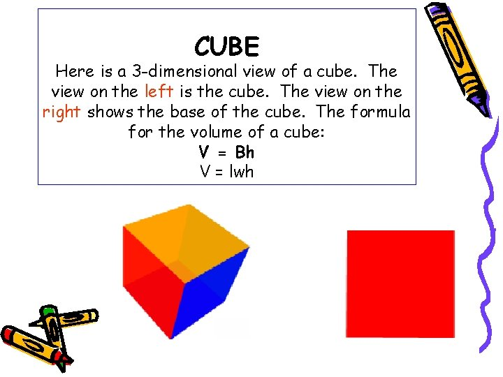 CUBE Here is a 3 -dimensional view of a cube. The view on the
