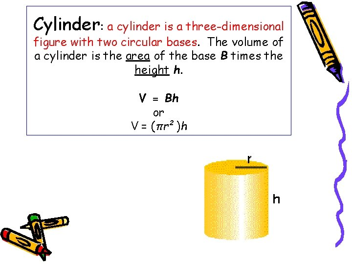 Cylinder: a cylinder is a three-dimensional figure with two circular bases. The volume of