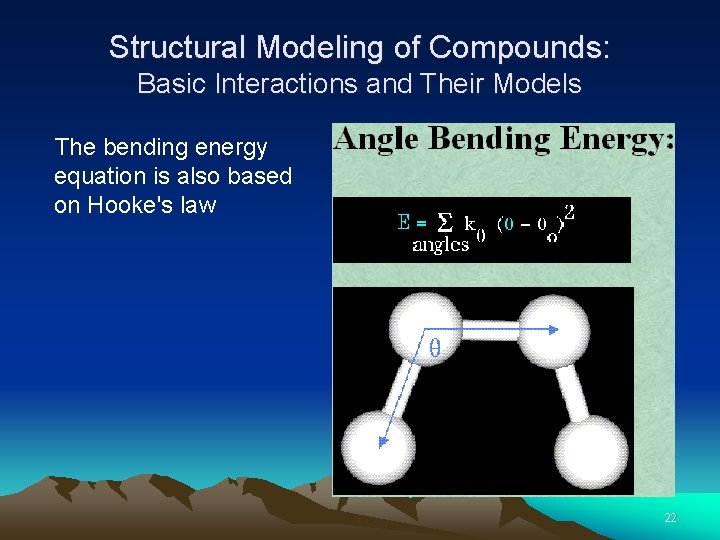 Structural Modeling of Compounds: Basic Interactions and Their Models The bending energy equation is