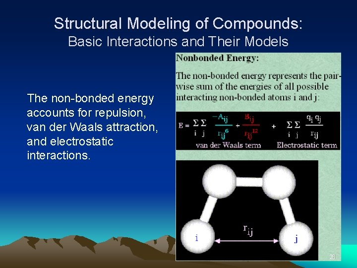 Structural Modeling of Compounds: Basic Interactions and Their Models The non-bonded energy accounts for
