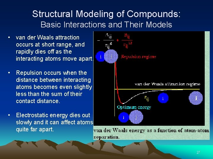 Structural Modeling of Compounds: Basic Interactions and Their Models • van der Waals attraction
