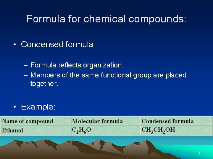 Formula for chemical compounds: • Condensed formula – Formula reflects organization. – Members of