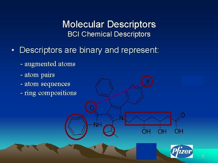 Molecular Descriptors BCI Chemical Descriptors • Descriptors are binary and represent: - augmented atoms