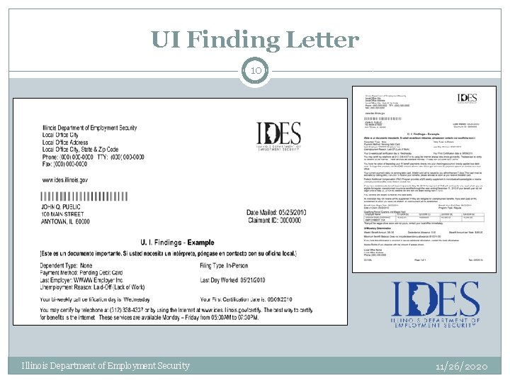 UI Finding Letter 10 Illinois Department of Employment Security 11/26/2020