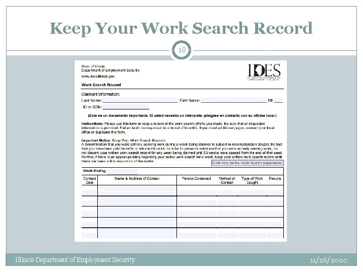 Keep Your Work Search Record 18 Illinois Department of Employment Security 11/26/2020