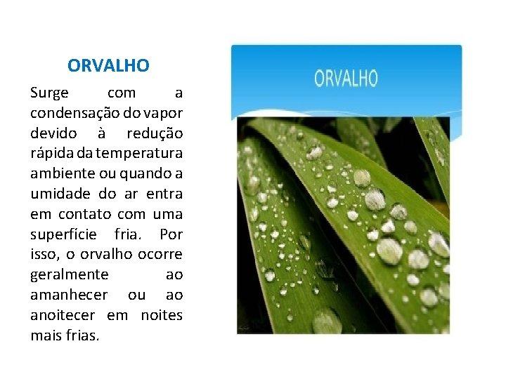 ORVALHO Surge com a condensação do vapor devido à redução rápida da temperatura ambiente
