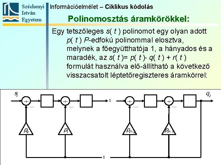 Széchenyi Információelmélet – Ciklikus kódolás István Egyetem Polinomosztás áramkörökkel: Egy tetszőleges s( t )