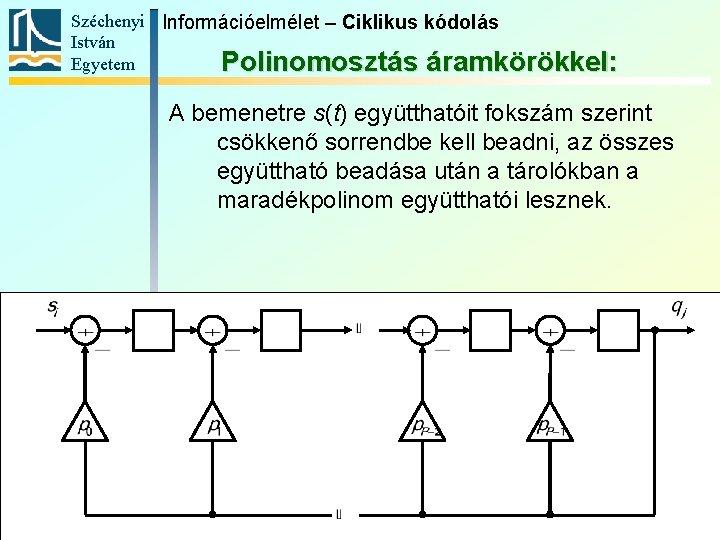 Széchenyi Információelmélet – Ciklikus kódolás István Egyetem Polinomosztás áramkörökkel: A bemenetre s(t) együtthatóit fokszám