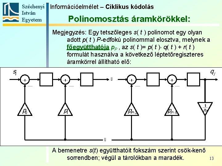 Széchenyi Információelmélet – Ciklikus kódolás István Egyetem Polinomosztás áramkörökkel: Megjegyzés: Egy tetszőleges s( t