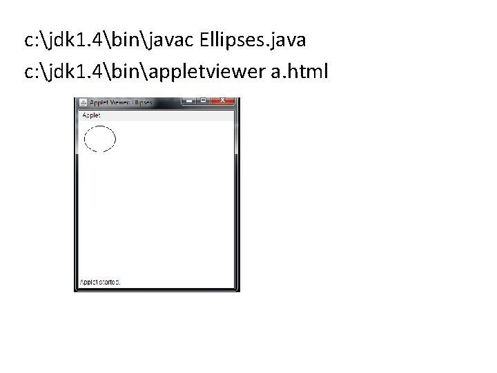 c: jdk 1. 4binjavac Ellipses. java c: jdk 1. 4binappletviewer a. html