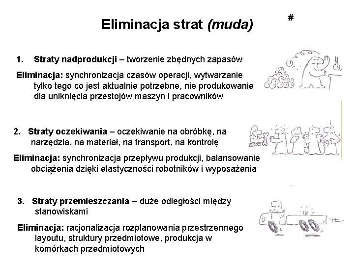 Eliminacja strat (muda) 1. Straty nadprodukcji – tworzenie zbędnych zapasów Eliminacja: synchronizacja czasów operacji,