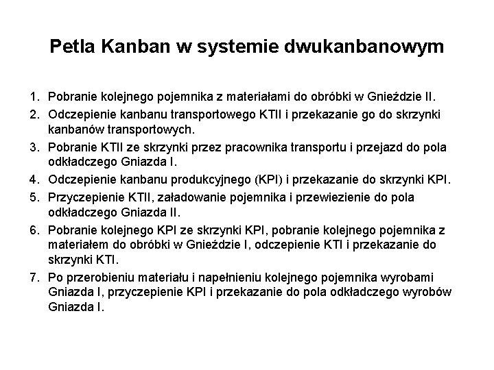Petla Kanban w systemie dwukanbanowym 1. Pobranie kolejnego pojemnika z materiałami do obróbki w