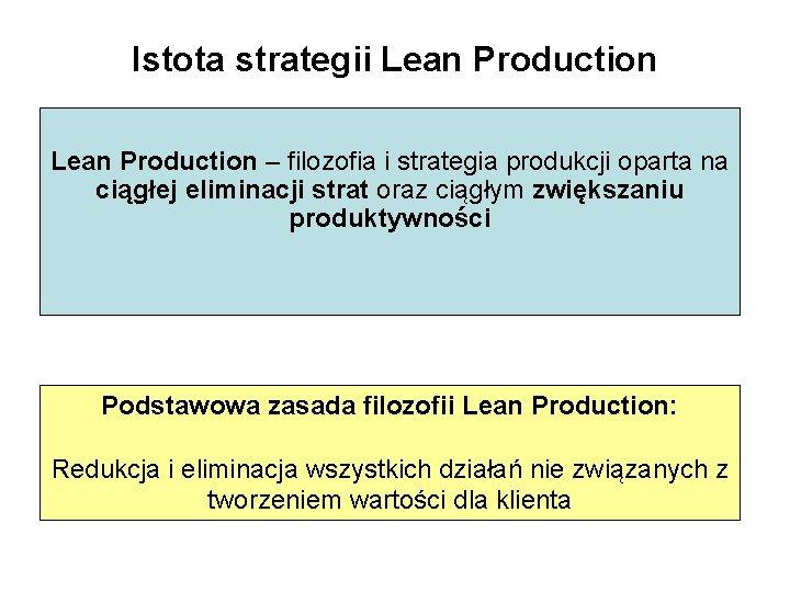 Istota strategii Lean Production – filozofia i strategia produkcji oparta na ciągłej eliminacji strat