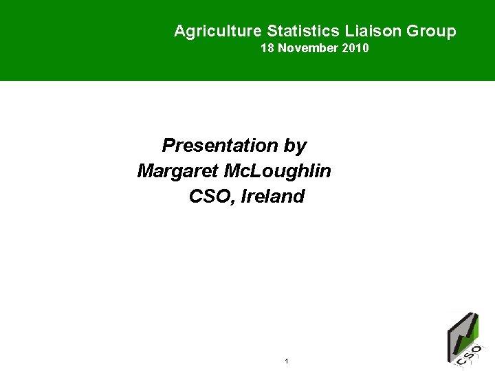 Agriculture Statistics Liaison Group 18 November 2010 Presentation by Margaret Mc. Loughlin CSO, Ireland