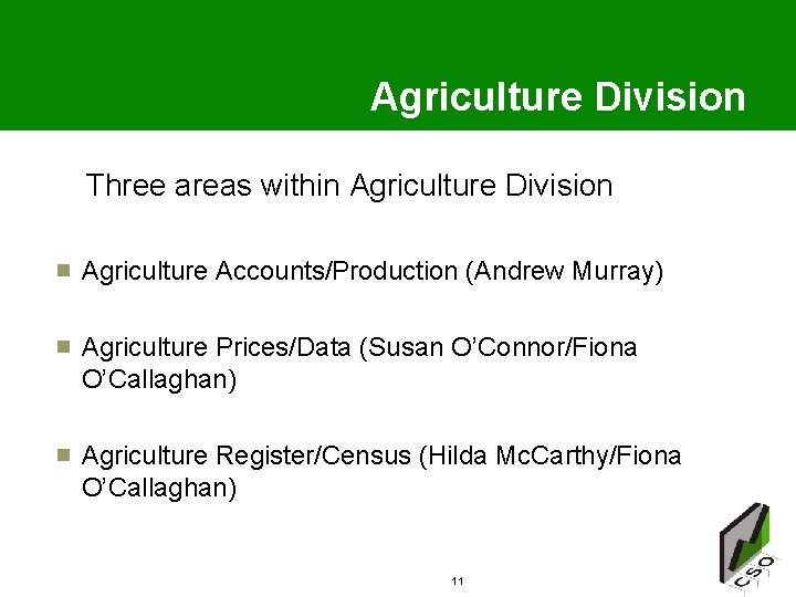 Agriculture Division Three areas within Agriculture Division Agriculture Accounts/Production (Andrew Murray) Agriculture Prices/Data (Susan