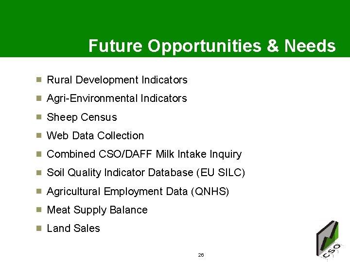 Future Opportunities & Needs Rural Development Indicators Agri-Environmental Indicators Sheep Census Web Data Collection