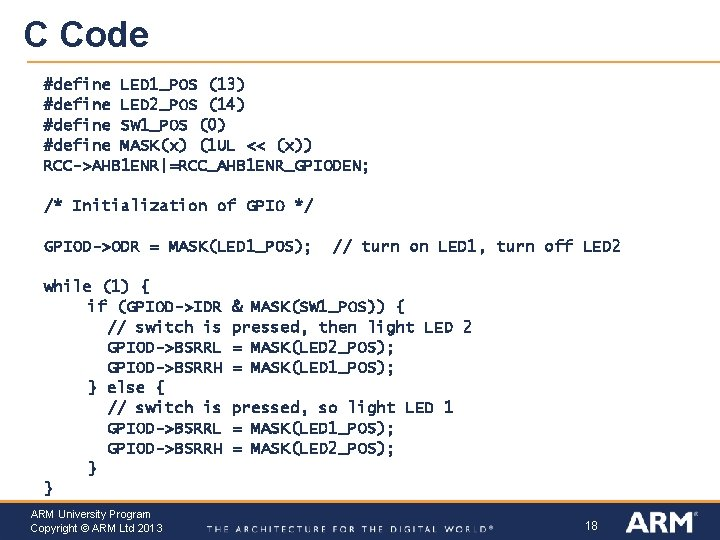 C Code #define LED 1_POS (13) #define LED 2_POS (14) #define SW 1_POS (0)