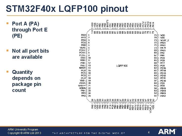 STM 32 F 40 x LQFP 100 pinout § Port A (PA) through Port