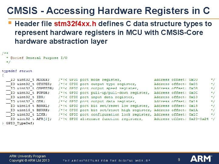 CMSIS - Accessing Hardware Registers in C § Header file stm 32 f 4