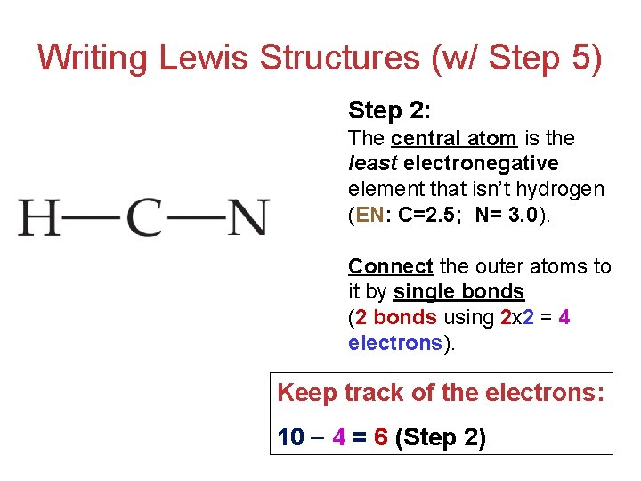 Writing Lewis Structures (w/ Step 5) Step 2: The central atom is the least