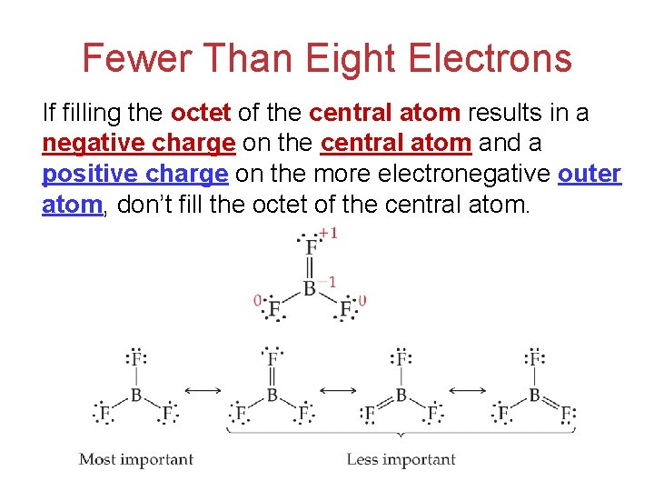 Fewer Than Eight Electrons If filling the octet of the central atom results in