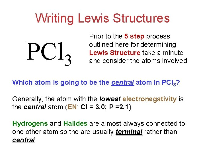 Writing Lewis Structures PCl 3 Prior to the 5 step process outlined here for