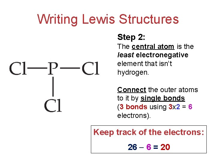 Writing Lewis Structures Step 2: The central atom is the least electronegative element that