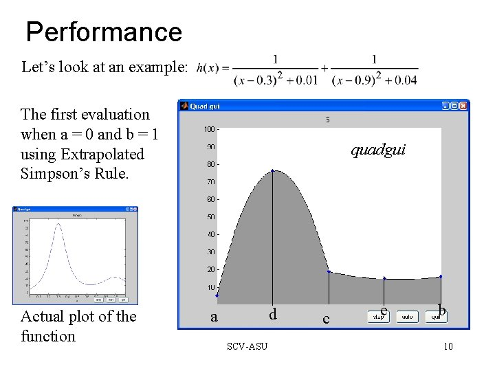 Performance Let's look at an example: The first evaluation when a = 0 and