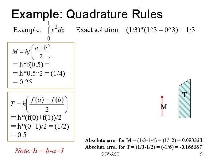 Example: Quadrature Rules Example: Exact solution = (1/3)*(1^3 – 0^3) = 1/3 = h*f(0.
