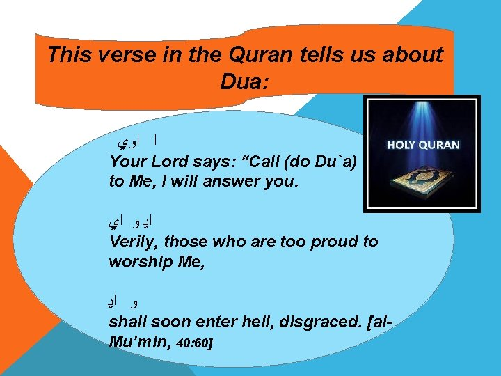 This verse in the Quran tells us about Dua: ﺍﻭﻱ ﺍ Your Lord says: