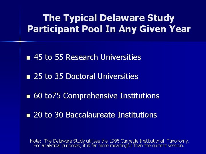 The Typical Delaware Study Participant Pool In Any Given Year n 45 to 55