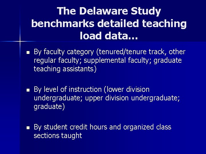 The Delaware Study benchmarks detailed teaching load data… n By faculty category (tenured/tenure track,