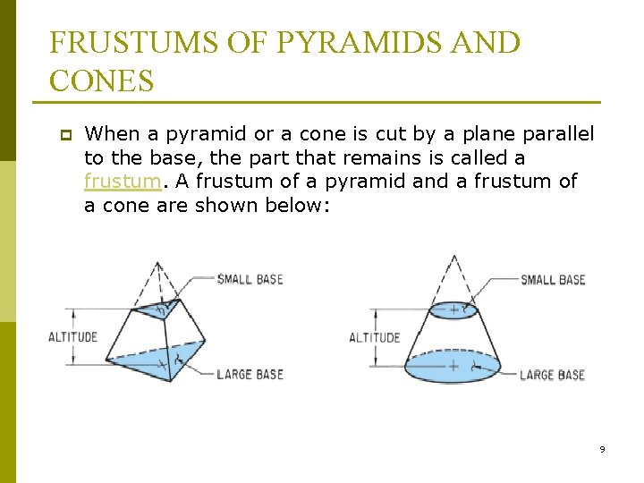 FRUSTUMS OF PYRAMIDS AND CONES p When a pyramid or a cone is cut