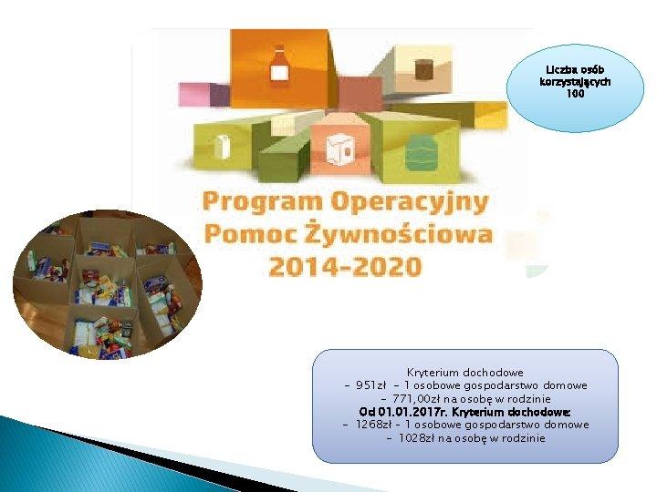 Liczba osób korzystających 100 Kryterium dochodowe - 951 zł - 1 osobowe gospodarstwo domowe