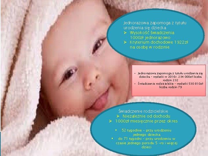 Jednorazowa zapomoga z tytułu urodzenia się dziecka Ø Wysokość świadczenia 1000 zł jednorazowo Ø