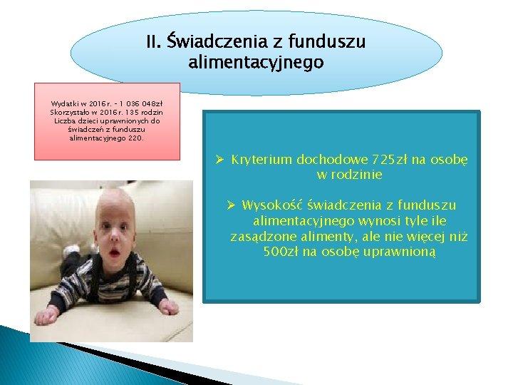 II. Świadczenia z funduszu alimentacyjnego Wydatki w 2016 r. – 1 036 048 zł
