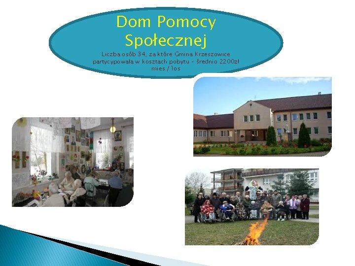 Dom Pomocy Społecznej Liczba osób 34, za które Gmina Krzeszowice partycypowała w kosztach pobytu