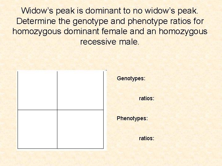 Widow's peak is dominant to no widow's peak. Determine the genotype and phenotype ratios