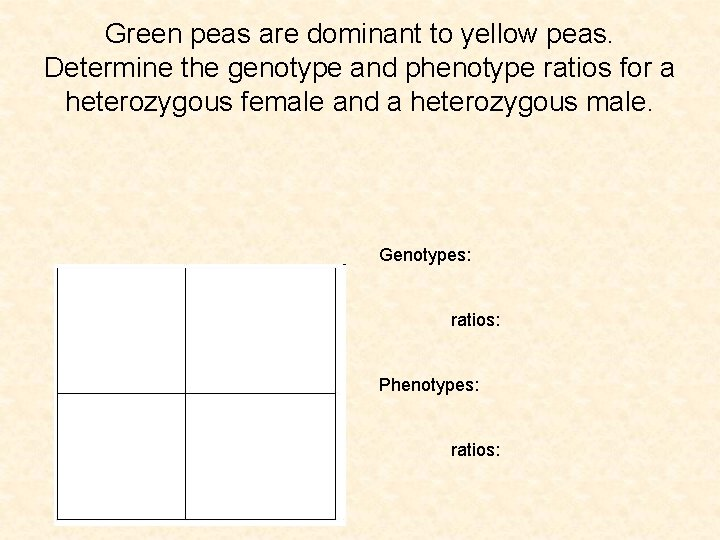 Green peas are dominant to yellow peas. Determine the genotype and phenotype ratios for