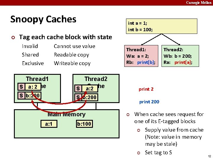 Carnegie Mellon Snoopy Caches ¢ Tag each cache block with state Invalid Shared Exclusive
